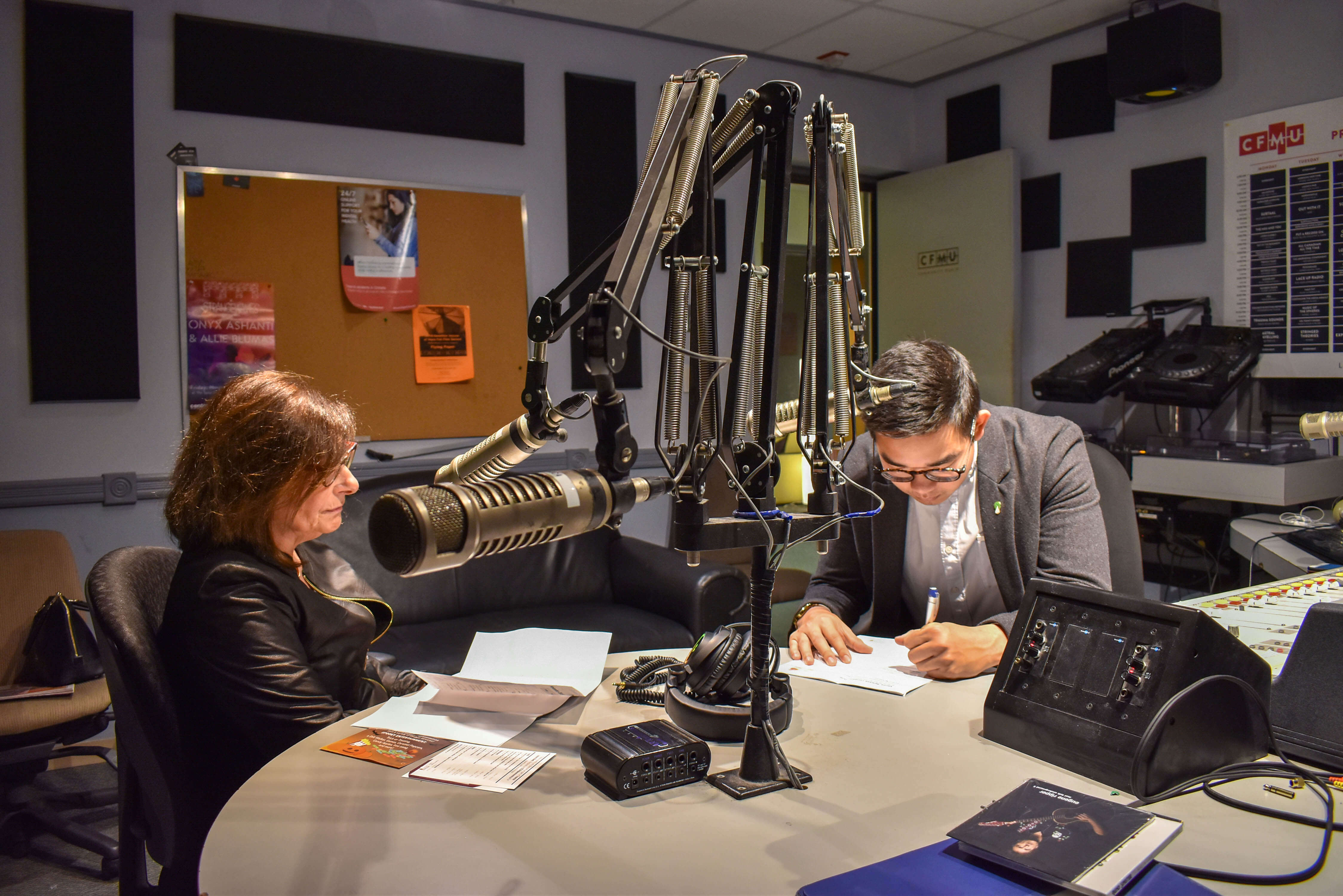 Image of radio interview with McMaster
