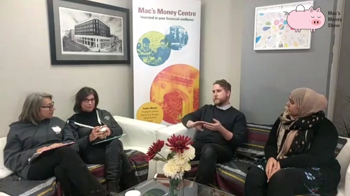 Image contains money coaches sitting across from McMaster student and Alumni